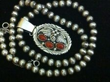 Gorgeous Antique Old Pawn 3 Coral Pendant& Sterling Silver Beads Necklace