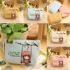 Mini Cute Girl Canvas Coin Purse Key Wallet Storage Bag  Wallet Gift Pink
