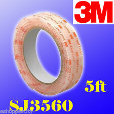"3M Dual Lock SJ3560 Type 250 VHB Clear Reclosable Fastener, 1"" W x 5' In/Outdoor"
