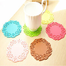 4 Pcs Flower Hollow Round Silicone Table Mat Coaster Cushion Placemat Pad Hot99