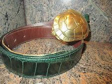 RARE!!! Huge Kieselstein Cord Art Bronze Turtle Buckle With Alligator Belt