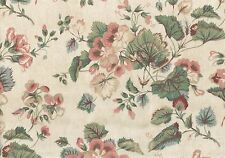 Waverly Fabric Glencoe Vintage Beige Pink Green Rose Cotton Drapery Upholstery
