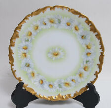 T&V Limoges France Hand Painted Plate Large Daisies Heavy Gold