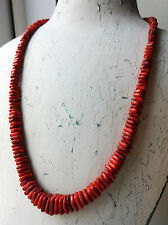 "HSN JAY KING DRT RED ORANGE CORAL SQUARE BEAD STERLING SILVER 21"" NECKLACE"