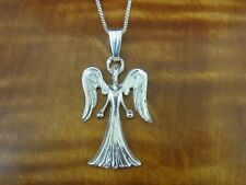 Angel with Wings Faceless Sterling Silver 925 Pendant Chain Necklace