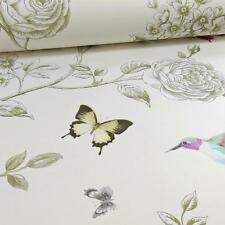 GRANDECO IDECO ROSE GARDEN BIRD BUTTERFLY PATTERN FLORAL MOTIF WALLPAPER CREAM