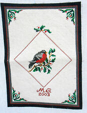 Complete Needlepoint Canvas - Robin w Branch & Berries - Corner Design VERY CUTE