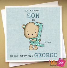 Personalised Birthday Card, Teddy Bear, Son, Nephew, Grandson 1st,2nd,3rd,4th