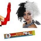 Cruella Deville Wig Holder Red Gloves Fancy Dress Outfit Dalmatian Fun Accessory