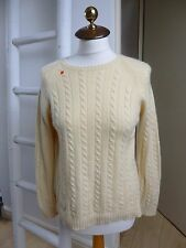 unbranded pure cashmere cream cable knit round neck jumper size M