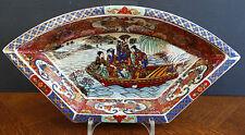 """Ältere Chinesische Satsuma Porzellan Schale Craquele """" Geishas auf Bootsfahrt """""""