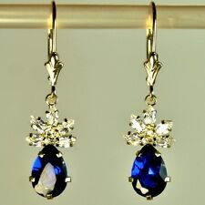 14k solid yellow gold 9x6mm briolette Sapphire nice earrings leverback 3.50tcw