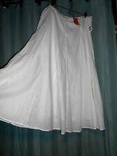 "NWT linen cotton lined brght white long skirt 6 panels Old Navy L + 38""wst  p156"