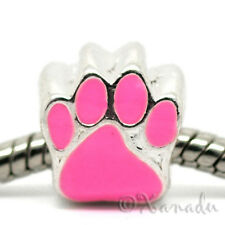 Pink Puppy Dog Or Kitty Cat Paw Print European Bead For European Bracelets