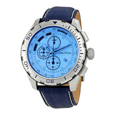 Nautica NST 101 Mens Leather Chronograph Watch NAI19519G