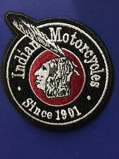 "INDIAN MOTORCYCLE EMBROIDERED ""ARROW-BRAVE"" ROUND PATCH 3"" RON/SEW PRISTINE!"