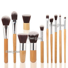 11pc Bamboo Makeup Brushes Set Foudation Face Powder Eye Shadow Shadding Brushes
