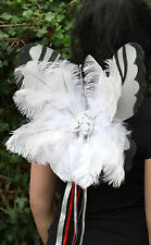 DELUXE WHITE ICE QUEEN FEATHER CHRISTMAS GOTHIC ANGEL FAIRY PIXIE WINGS COSPLAY