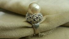 CLIVE KANDEL Magnificient Costume Jewelry Sterling Pave Crystal Pearl Ring Sz 8