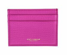 NWT DOLCE & GABBANA Pink Leather Four Slot Women Cardholder Wallet ID Case