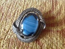 Vintage Miracle Brooch - Scottish Celtic style, blue glass, signed