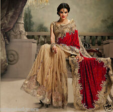 INDIAN WOMEN DESIGNER VELVET, NET SAREE BOLLYWOOD WEDDING BRIDAL HEAVY WORK SARI