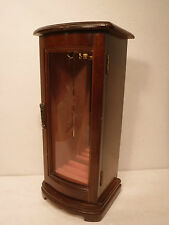 Wood Jewelry Box Glass Front Door & Mirror Spinning Necklace Hanger Ring Roll