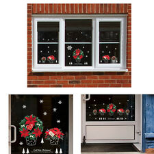 Merry Christmas Flower Wall Window Stickers Decals Removable Home Shop Decor DIY