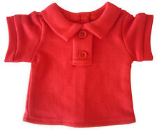 Red T-Shirt Polo made for Bitty Baby + Twins Doll Clothes