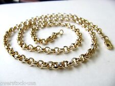 20INCH Solid 18K Yellow Gold Necklace 4mm Rolo Link Chain / 14-15g Au750