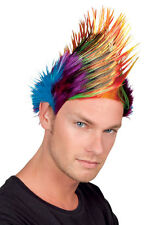 MOHICAN WIG 80s PARTY MENS SPIKY FANCY DRESS PUNKROCK MULTI COLOURED RAINBOW NEW
