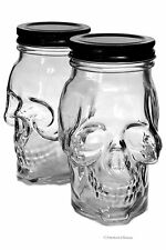 Set 2 Large 16oz Skull Glass Kitchen Food Storage Jam Canning Mason Jars w/ Lids