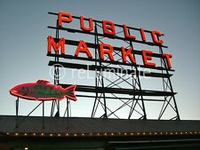 Seattle Pike Place Public Market 24x18 photo on aluminum