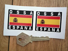 OSSA ESPANA Spanish Flag Style Stickers 50mm Pair Spain Motorcycle Helmet Bike