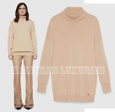 $1,195 GUCCI SWEATER CAMEL CASHMERE OVERSIZED TURTLENECK TOP LOGO  M / MEDIUM