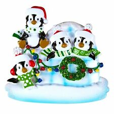 Penguin Igloo Family Of 4 Personalized Christmas Tree Ornament X-mass Noel New