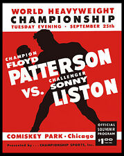 "Floyd Patterson vs Sonny Liston Poster of  1962 Fight Program, 8""x10"" Photo"