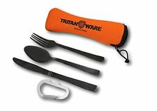 Titanium Plated Cutlery Spoon Fork Knife W/ Neoprene Case HUNTING CAMPING BLACK