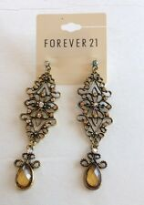 NWT Forever 21 Gold-toned  Chandelier Crystal  Stone Teardrop Earring nice