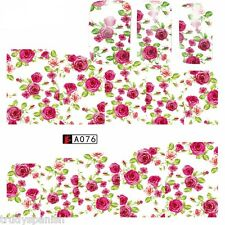 Nail Art Water Decals Full Wraps Pretty White Pink Flowers Roses Gel Polish a076