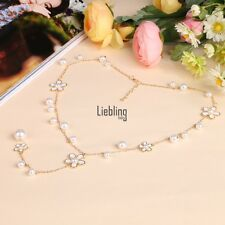 Vintage Women's Pearl Flower Sweater Chain Long Pendant Necklace Fashion Jewelry