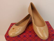 NIB TORY BURCH KENT QUILTED PATENT LEATHER LIGHT OAK GOLD REVA FLATS 8 $235