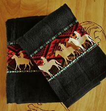 RUSTIC WESTERN DECOR,KITCHEN TOWELS,SET OF 2 IN BLACK, VIBRANT COWBOY BORDER