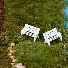 2X White Seat Bench Outdoor Garden Park Decor Miniature DIY Furniture Doll House