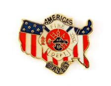 USA Flag Fire Fighter Americas Bravest Maltese Cross Lapel Hat Pin PPM769