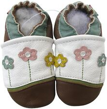 carozoo little flower white brown 12-18m new soft sole leather baby shoes