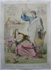 Ludwig I. u die schönen Künste Muse Kaulbach Orig Radierung Ludwigs Album 1850
