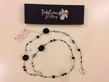 Truly Scrumptious Hand Made Craft Necklace Black Pearl Stones Crochet String