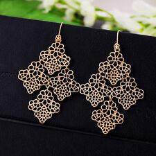 Women Earrings Cutout Chantilly Lace Link Flower Filigree Drop Chandelier Dangle