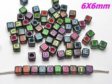250 Black with Neon Color Assorted Alphabet Letter Cube Pony Beads 6X6mm